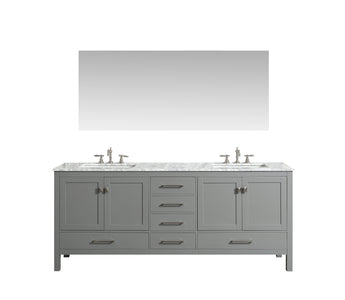 Bathroom Vanities - Eviva Aberdeen 72 Inch Gray Transitional Double Sink Bathroom Vanity With White Carrara Marble Countertop And Undermount Porcelain Sinks