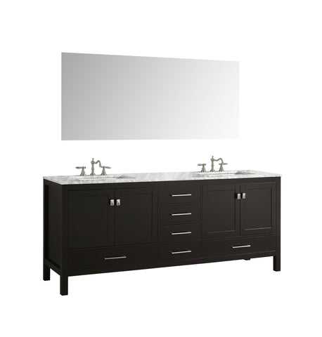 Image of Bathroom Vanities - Eviva Aberdeen 84 Inch Espresso Transitional Double Sink Bathroom Vanity With White Carrara Marble Countertop And Undermount Porcelain Sinks
