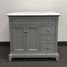 Load image into Gallery viewer, Bathroom Vanities - Eviva Elite Princeton 36 Inch Gray Bathroom Vanity With Double Ogee Edge White Carrara Countertop And Undermount Porcelain Sink