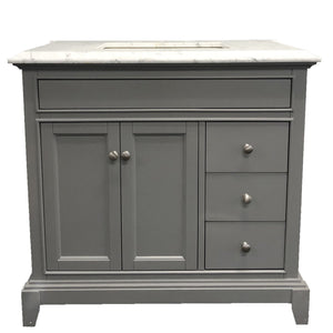 Bathroom Vanities - Eviva Elite Princeton 36 Inch Gray Bathroom Vanity With Double Ogee Edge White Carrara Countertop And Undermount Porcelain Sink