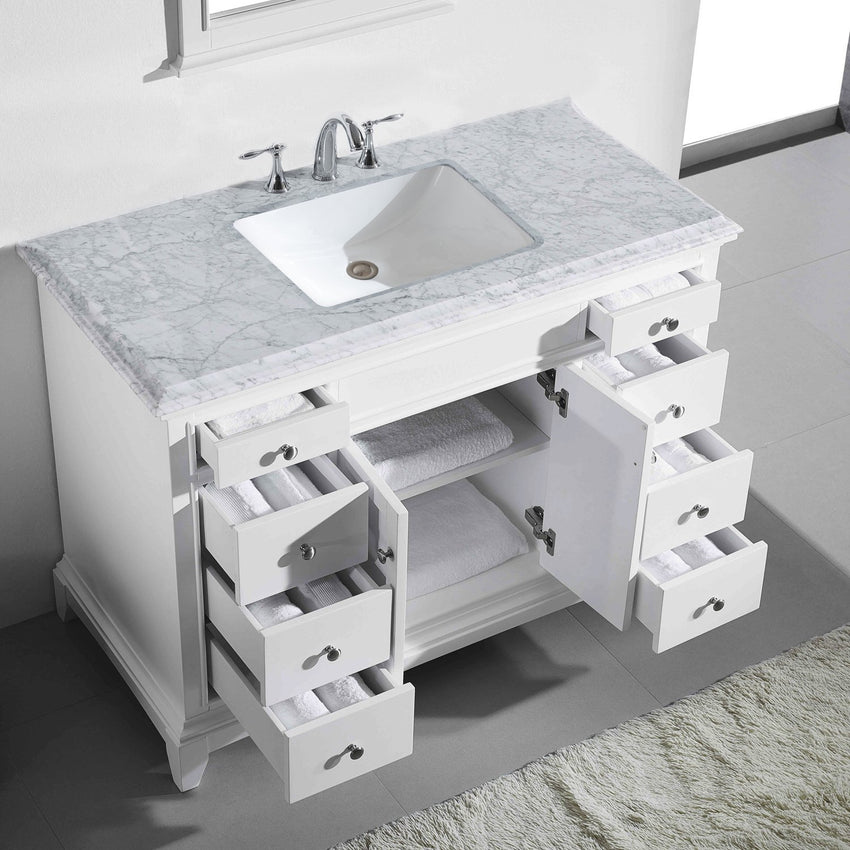 Bathroom Vanities - Eviva Elite Princeton 42 Inch White Bathroom Vanity With Double Ogee Edge White Carrara Countertop And Undermount Porcelain Sink