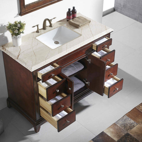 Image of Bathroom Vanities - Eviva Elite Princeton 48 Inch Teak Bathroom Vanity With Double Ogee Edge Crema Marfil Countertop And Undermount Porcelain Sink