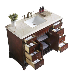 Bathroom Vanities - Eviva Elite Princeton 48 Inch Teak Bathroom Vanity With Double Ogee Edge Crema Marfil Countertop And Undermount Porcelain Sink