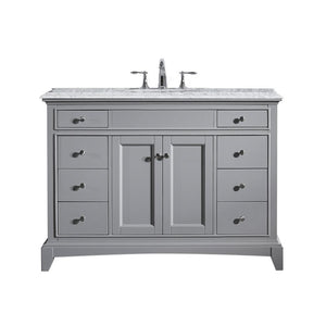 Bathroom Vanities - Eviva Elite Stamford 48 Inch Gray Bathroom Vanity With Double Ogee Edge White Carrara Countertop And Undermount Porcelain Sink