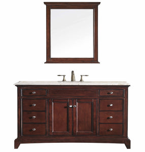 Bathroom Vanities - Eviva Elite Stamford 60 Inch Teak Single Sink Bathroom Vanity With Double Ogee Edge Crema Marfil Countertop And Undermount Porcelain Sink