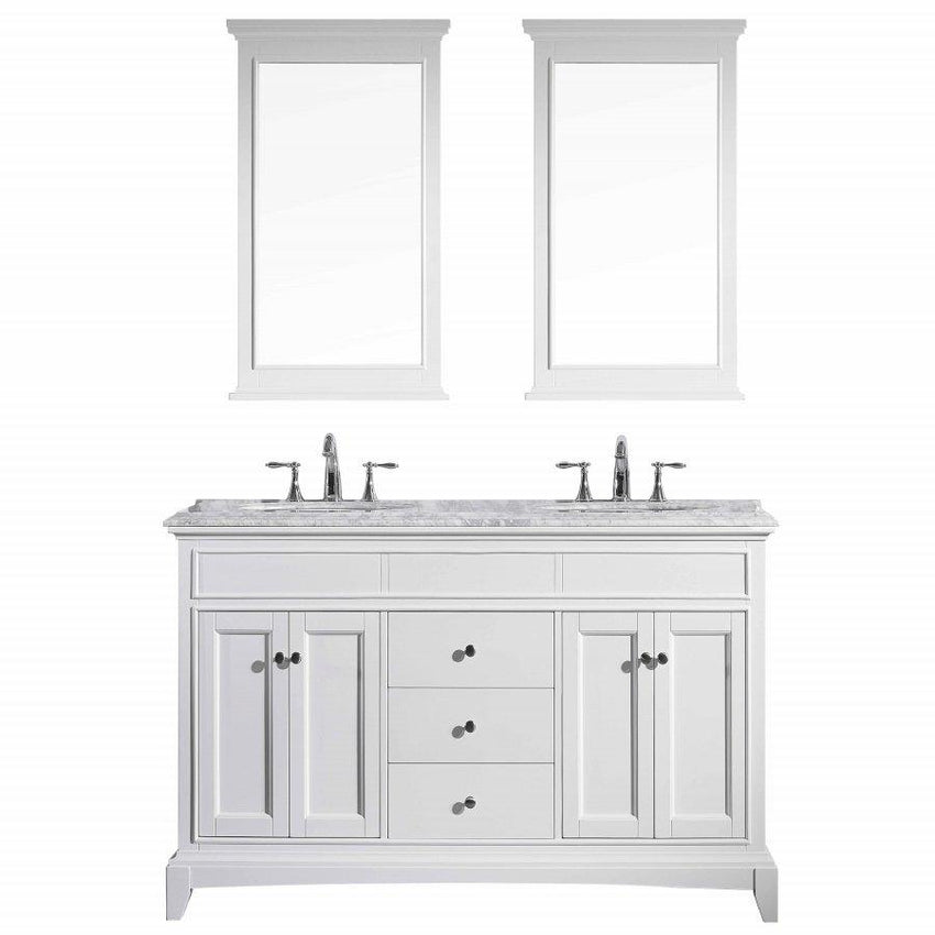 Bathroom Vanities - Eviva Elite Stamford 60 Inch White Double Sink Bathroom Vanity With Double Ogee Edge White Carrara Countertop And Undermount Porcelain Sinks