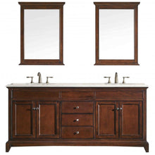 Load image into Gallery viewer, Bathroom Vanities - Eviva Elite Stamford 72 Inch Teak Double Sink Bathroom Vanity With Double Ogee Edge Crema Marfil Countertop And Undermount Porcelain Sinks