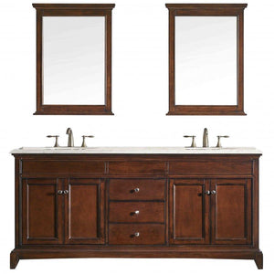 Bathroom Vanities - Eviva Elite Stamford 72 Inch Teak Double Sink Bathroom Vanity With Double Ogee Edge Crema Marfil Countertop And Undermount Porcelain Sinks