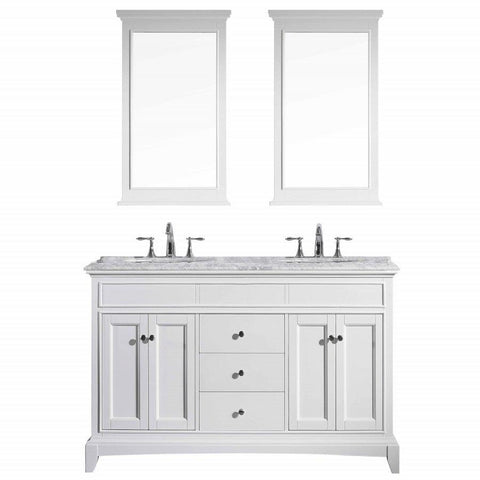 Image of Bathroom Vanities - Eviva Elite Stamford 72 Inch White Double Sink Bathroom Vanity With Double Ogee Edge White Carrara Countertop And Undermount Porcelain Sinks