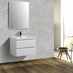 Bathroom Vanities - Eviva Glazzy 28 Inch Glossy White Wall Mount Modern Bathroom Vanity With White Integrated Acrylic Top