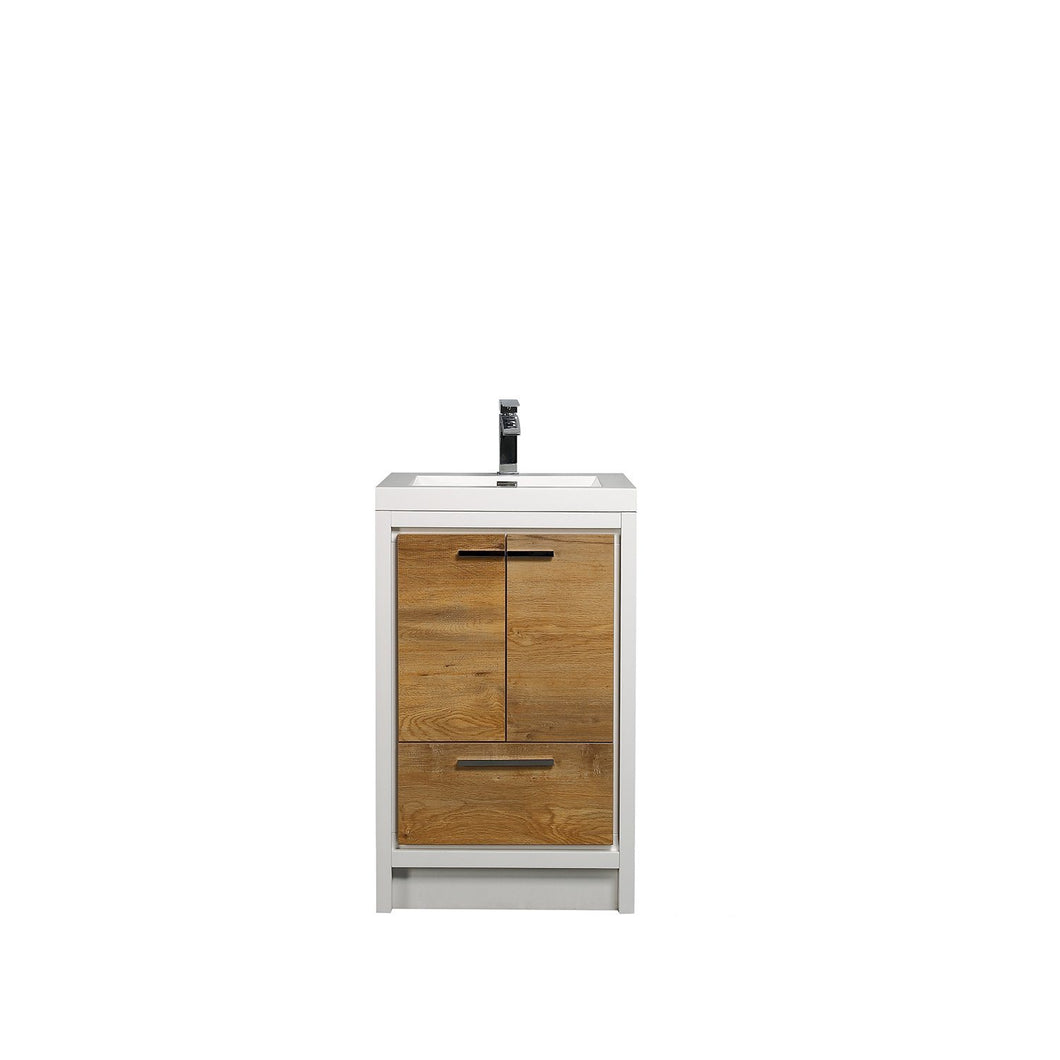 Bathroom Vanities - Eviva Grace 36 Inch Natural Oak/White Bathroom Vanity With White Integrated Acrylic Top