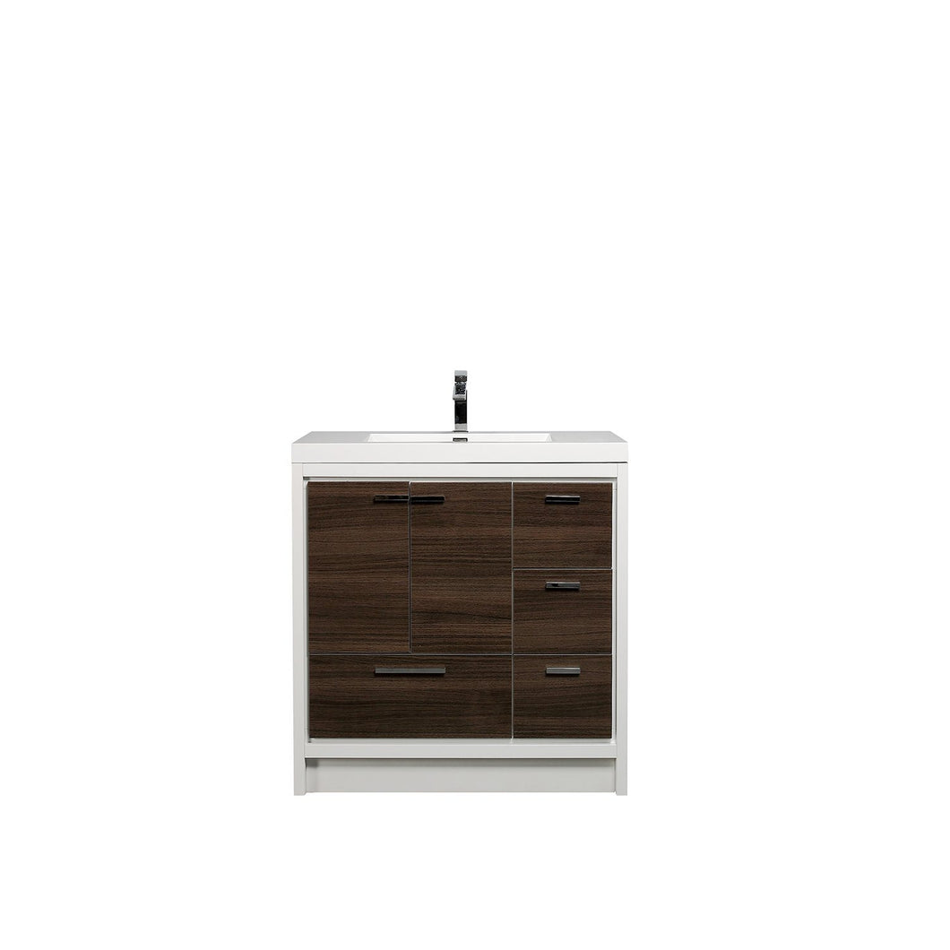 Bathroom Vanities - Eviva Grace 42 Inch Gray Oak/White Bathroom Vanity With White Integrated Acrylic Top