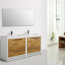 Load image into Gallery viewer, Bathroom Vanities - Eviva Grace 72 Inch Natural Oak/White Double Sink Bathroom Vanity With White Integrated Acrylic Top