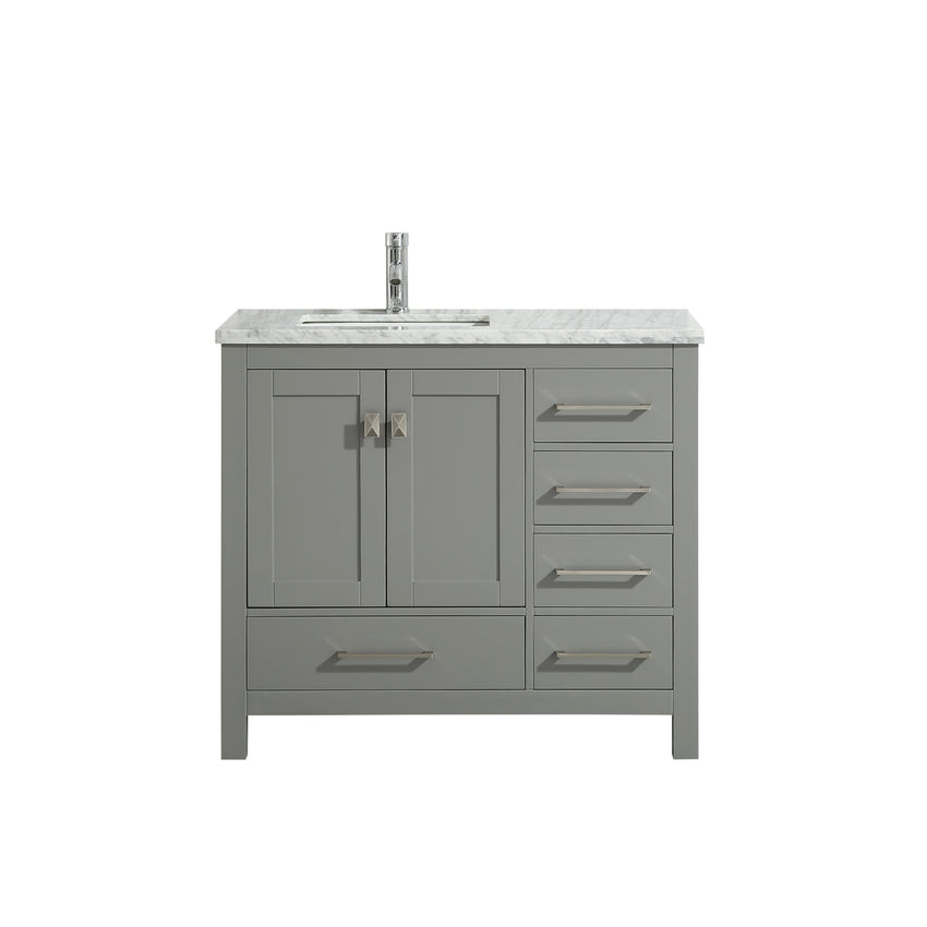 Bathroom Vanities - Eviva London 36 X 18 Inch Gray Transitional Bathroom Vanity With White Carrara Marble Countertop And Undermount Porcelain Sink