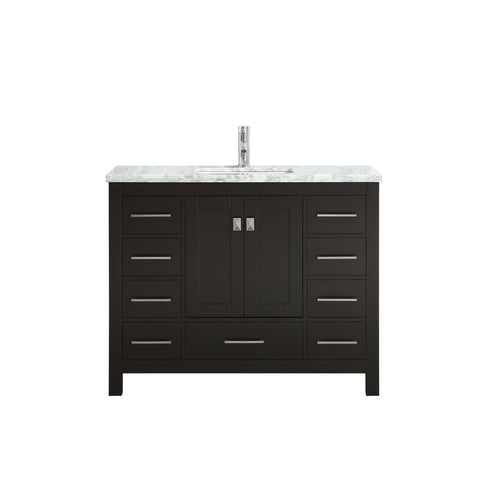 Image of Bathroom Vanities - Eviva London 42 X 18 Inch Espresso Transitional Bathroom Vanity With White Carrara Marble Countertop And Undermount Porcelain Sink