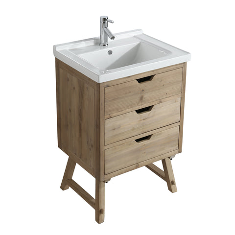 "Bathroom Vanities - Fredric 24"" Single Sink Bathroom Vanity In Natural"