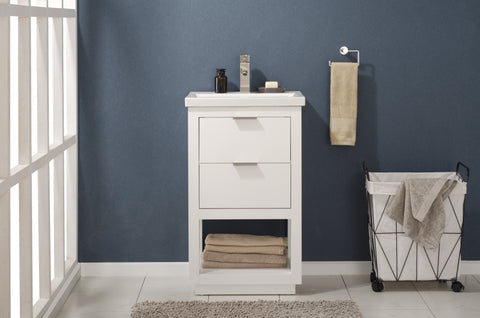 "Bathroom Vanities - Klein 20"" Single Sink Bathroom Vanity In White"