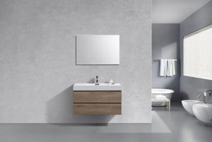 "Bathroom Vanities - Kubebath Bliss 40"" Butternut Wall Mount Modern Single Sink Bathroom Vanity"