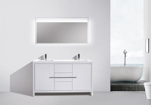 Image of Bathroom Vanities - KubeBath Dolce 60″ Double Sink High Gloss White Modern Bathroom Vanity With White Quartz Counter-Top