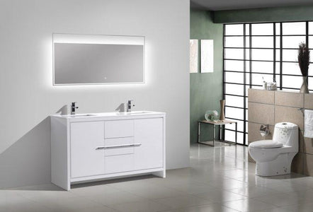Bathroom Vanities - KubeBath Dolce 60″ Double Sink High Gloss White Modern Bathroom Vanity With White Quartz Counter-Top