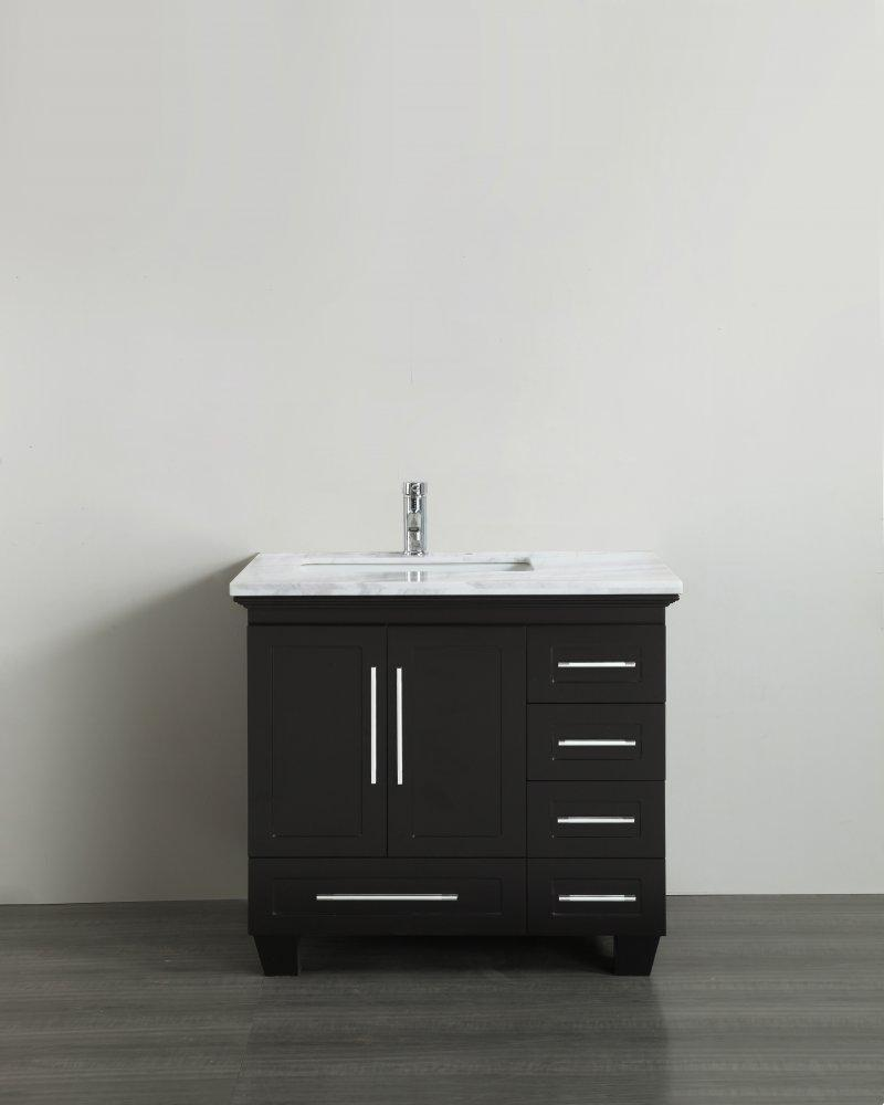 Bathroom Vanities - Loon 30 Inch Espresso Transitional Bathroom Vanity With White Carrara Marble Countertop And Long Handles
