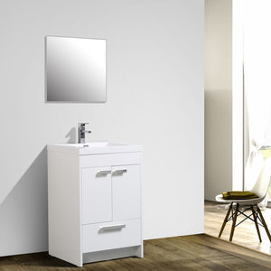 Bathroom Vanities - Lugano 24 Inch White Modern Bathroom Vanity With White Integrated Acrylic Top