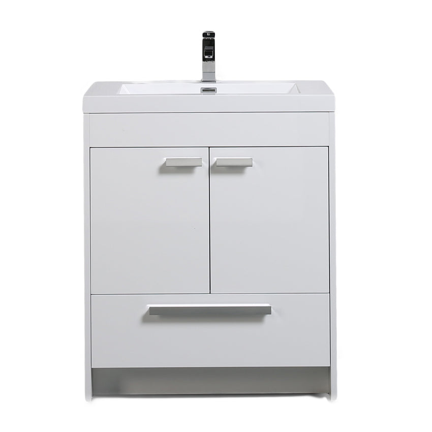Bathroom Vanities - Lugano 30-inch White Modern Bathroom Vanity With White Integrated Acrylic Top