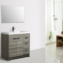 Load image into Gallery viewer, Bathroom Vanities - Lugano 36 Inch Ash Modern Bathroom Vanity With White Integrated Acrylic Top