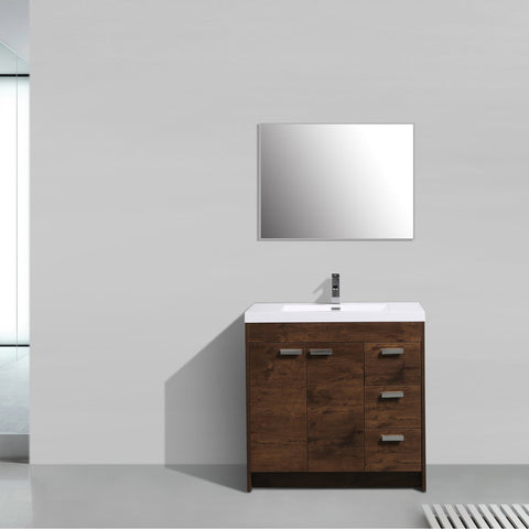 Image of Bathroom Vanities - Lugano 36-inch Rosewood Modern Bathroom Vanity With White Integrated Acrylic Top
