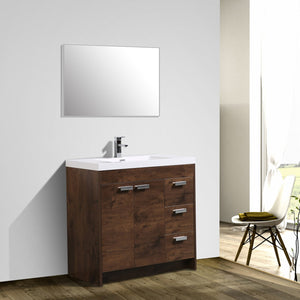 Bathroom Vanities - Lugano 36-inch Rosewood Modern Bathroom Vanity With White Integrated Acrylic Top