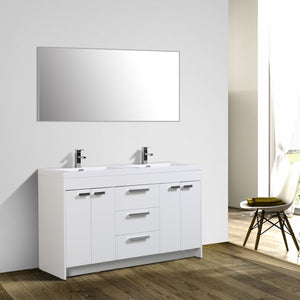 Bathroom Vanities - Lugano 60 Inch White Modern Double Sink Bathroom Vanity With White Integrated Acrylic Top