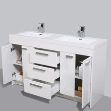 Load image into Gallery viewer, Bathroom Vanities - Lugano 60 Inch White Modern Double Sink Bathroom Vanity With White Integrated Acrylic Top