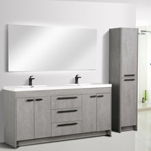 Load image into Gallery viewer, Bathroom Vanities - Lugano 72 Inch Cement Gray Modern Double Sink Bathroom Vanity With White Integrated Acrylic Top
