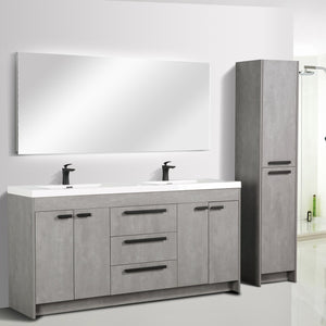 Bathroom Vanities - Lugano 72 Inch Cement Gray Modern Double Sink Bathroom Vanity With White Integrated Acrylic Top