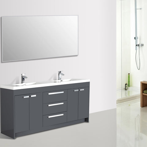 Image of Bathroom Vanities - Lugano 84-inch Gray Modern Double Sink Bathroom Vanity With White Integrated Acrylic Top