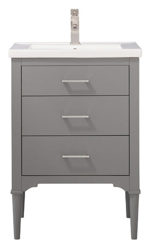 "Image of Bathroom Vanities - Mason 24"" Single Sink Bathroom Vanity In Gray"