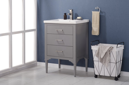 "Bathroom Vanities - Mason 24"" Single Sink Bathroom Vanity In Gray"