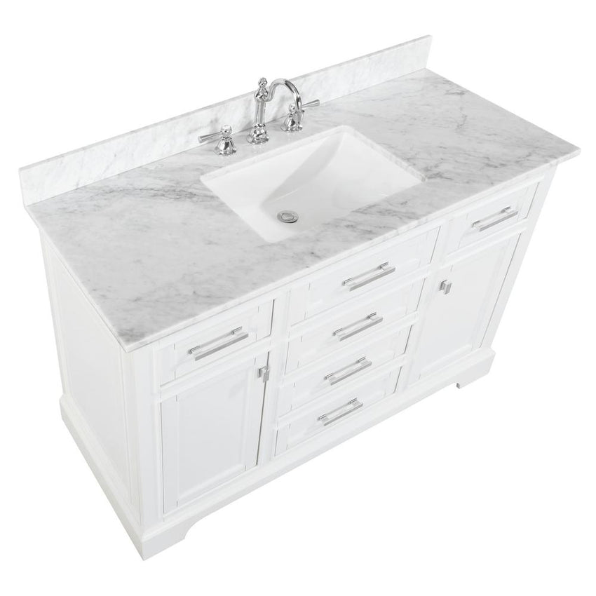 "Bathroom Vanities - Milano 54"" Single Sink Bathroom Vanity In White"
