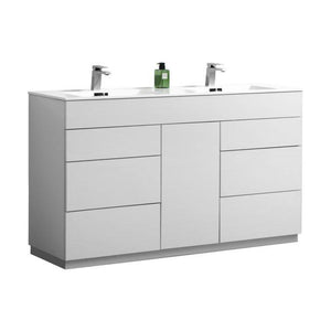 "Bathroom Vanities - Milano 60"" Double Sink High Glossy White  Modern Bathroom Vanity"