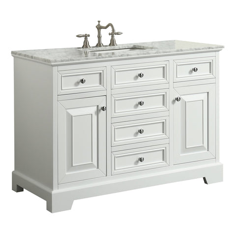 Image of Bathroom Vanities - Monroe 42 Inch White Transitional Bathroom Vanity With White Carrara Countertop And Undermount Porcelain Sink