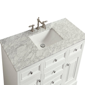 Bathroom Vanities - Monroe 42 Inch White Transitional Bathroom Vanity With White Carrara Countertop And Undermount Porcelain Sink