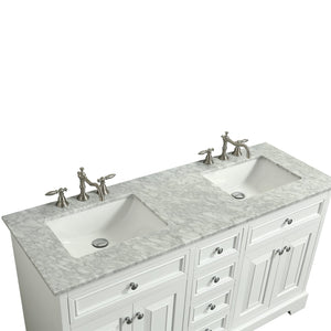 Bathroom Vanities - Monroe 60-inch White Transitional Double Sink Bathroom Vanity With White Carrara Countertop And Undermount Porcelain Sinks