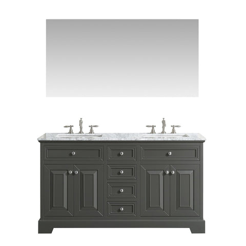 Bathroom Vanities - Monroe 72 Inch Gray Transitional Double Sink Bathroom Vanity With White Carrara Countertop And Undermount Porcelain Sinks