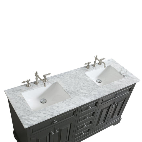Image of Bathroom Vanities - Monroe 72 Inch Gray Transitional Double Sink Bathroom Vanity With White Carrara Countertop And Undermount Porcelain Sinks