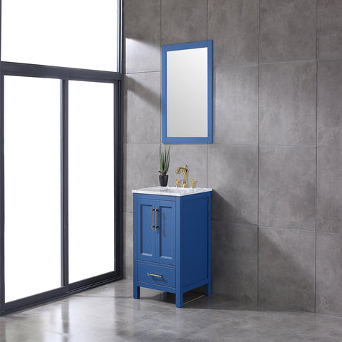Image of Bathroom Vanities - Navy 24 Inch Deep Blue Transitional Bathroom Vanity With White Carrara Marble Countertop And Undermount Porcelain Sink