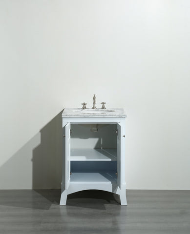 Image of Bathroom Vanities - New York 24 Inch White Bathroom Vanity With White Carrara Countertop And Undermount Porcelain Sink