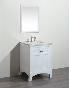Bathroom Vanities - New York 24 Inch White Bathroom Vanity With White Carrara Countertop And Undermount Porcelain Sink