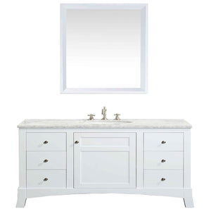 Bathroom Vanities - New York 48 Inch White Bathroom Vanity With White Carrara Countertop And Undermount Porcelain Sink