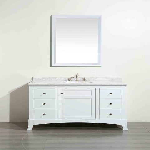 Image of Bathroom Vanities - New York 48 Inch White Bathroom Vanity With White Carrara Countertop And Undermount Porcelain Sink