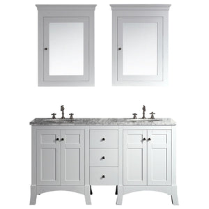 Bathroom Vanities - New York 60 Inch White Double Sink Bathroom Vanity With White Carrara Countertop And Undermount Porcelain Sinks